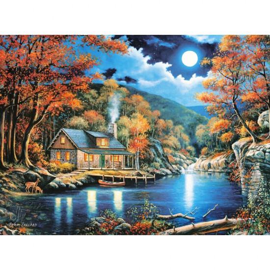 Puzzle 2000 pièces : Chalet au bord du lac - Castorland-200504