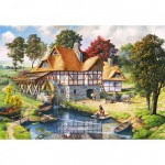 Puzzle 2000 pièces : Cottage avec moulin à eau