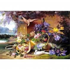 Puzzle 2000 pièces - Vie élégante parmi les fleurs, Eugène Bidau