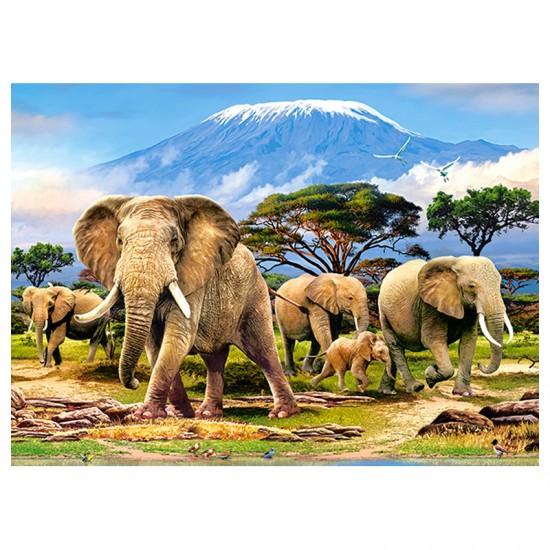Puzzle 300 pièces : Eléphants devant le Kilimandjaro - Castorland-030019