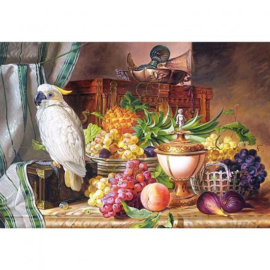 Puzzle 3000 pièces - Josef Schuster : Nature morte fruits et perroquet - Castorland-300143