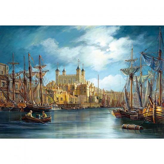 Puzzle 3000 pièces - Le lever du jour sur le port - Castorland-300167