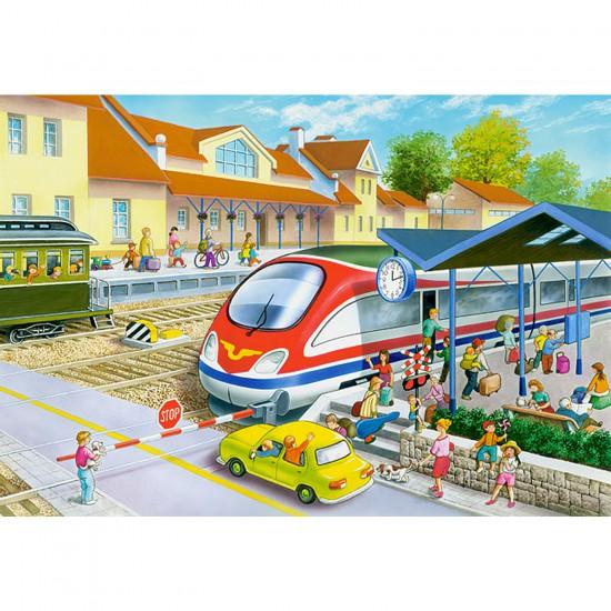 Puzzle 40 pièces maxi : Train en gare - Castorland-040032