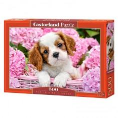 Puzzle 500 pièces : Chiot au milieu des fleurs