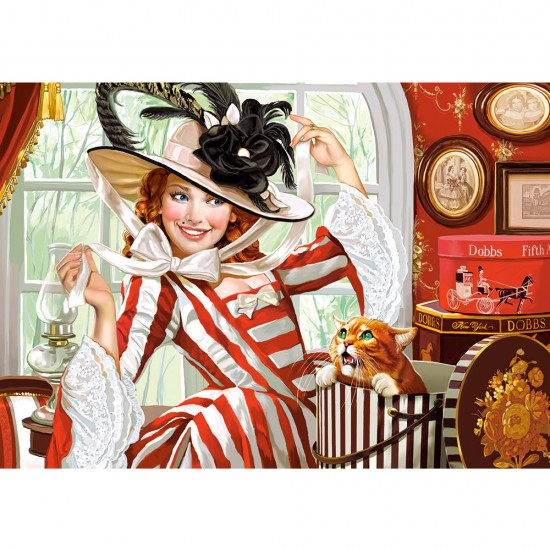 Puzzle 500 pièces : Dame au chapeau - Castorland-52165