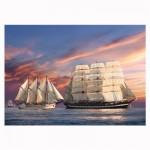 Puzzle 500 pièces : Navigation au coucher du soleil