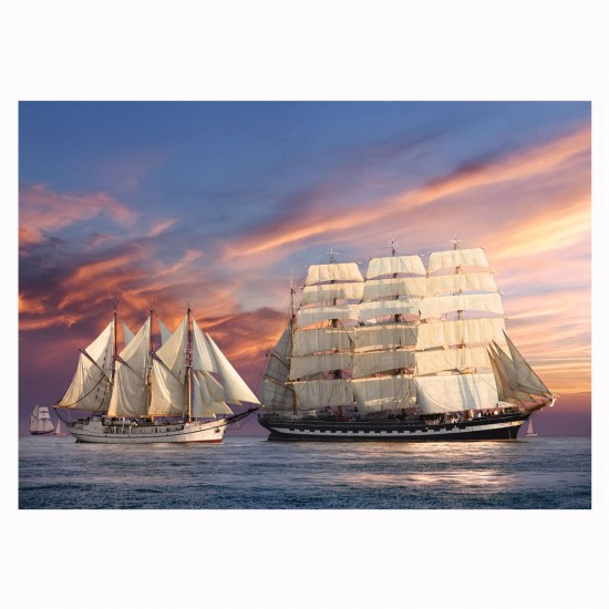 Puzzle 500 pièces : Navigation au coucher du soleil - Castorland-51892