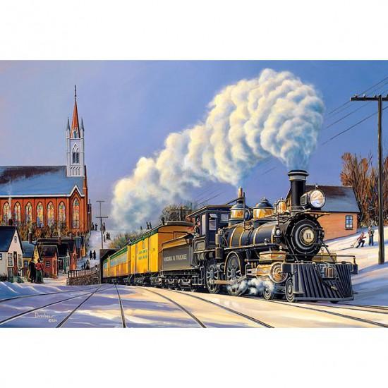 Puzzle 500 pièces : Train de Noël - Castorland-51885