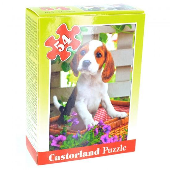 Puzzle 54 pièces : Mini puzzle : Petit beagle dans le panier - Castorland-08521Z-19