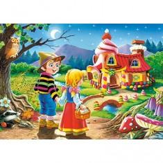 Puzzle 54 pièces - Mini puzzle : Hansel et Gretel devant la maison de la Sorcière