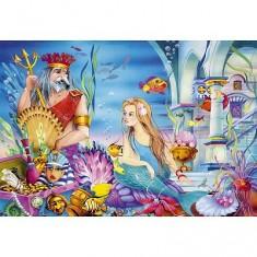 Puzzle 54 pièces - Mini puzzle : La petite sirène et le roi