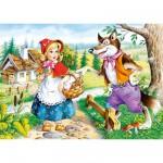 Puzzle 54 pièces - Mini puzzle : Le petit chaperon rouge et le loup au bord de la rivière