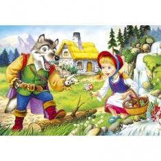 Puzzle 54 pièces - Mini puzzle : Le petit chaperon rouge et le loup devant la cascade