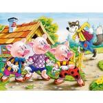 Puzzle 54 pièces - Mini puzzle : Les trois petits cochons