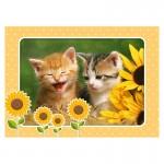 Puzzle 60 pièces : Chatons dans les fleurs d'été