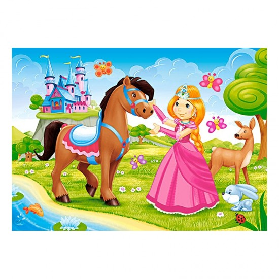Puzzle 60 pièces : Princesse et ses amis - Castorland-06816-1