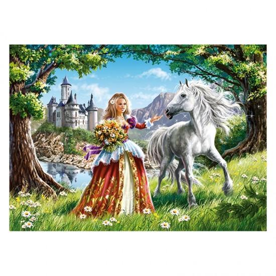 Puzzle 60 pièces : Princesse et son cheval - Castorland-06830-1