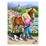 Puzzle 60 pièces : Une ballade avec un poney et un chien
