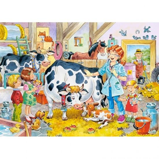 Puzzle 60 pièces : Vétérinaire à la ferme - Castorland-06748