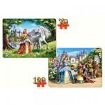 Puzzle 70 et 120 pièces : La princesse et son prince charmant