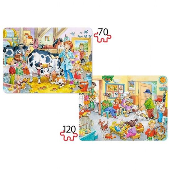 Puzzle 70 et 120 pièces : Les animaux et le docteur - Castorland-021154