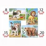 Puzzles de 8 à 20 pièces : 4 puzzles : Les animaux