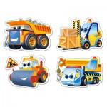 Puzzle évolutif 3 à 9 pièces : Drôles de véhicules de chantier