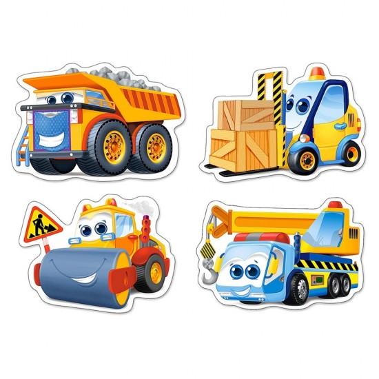 Puzzle évolutif 3 à 9 pièces : Drôles de véhicules de chantier - Castorland-005024