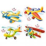 Puzzle évolutif 4 à 7 pièces : Avions rigolos