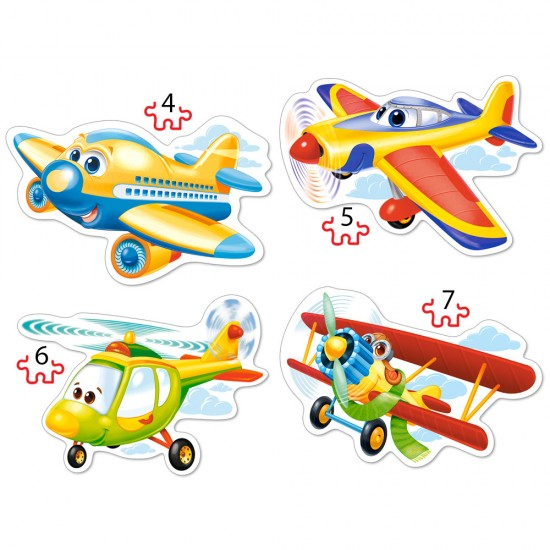 Puzzle évolutif 4 à 7 pièces : Avions rigolos - Castorland-04447-2