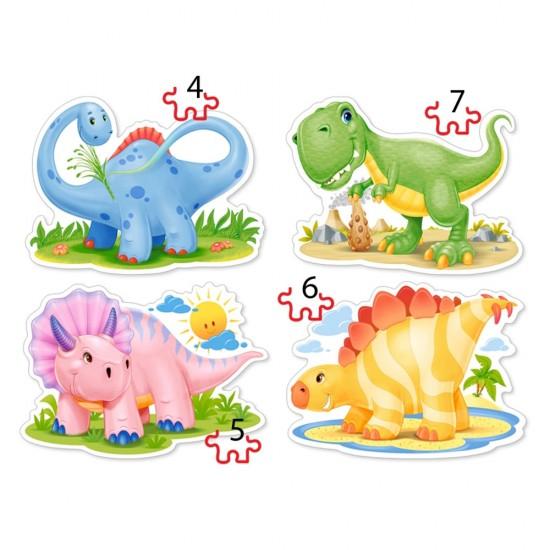 Puzzle évolutif 4 à 7 pièces : Bébés Dinosaures - Castorland-04386