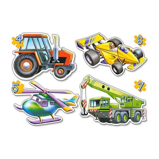 Puzzle évolutif 4 à 7 pièces : Différents véhicules - Castorland-04263-2