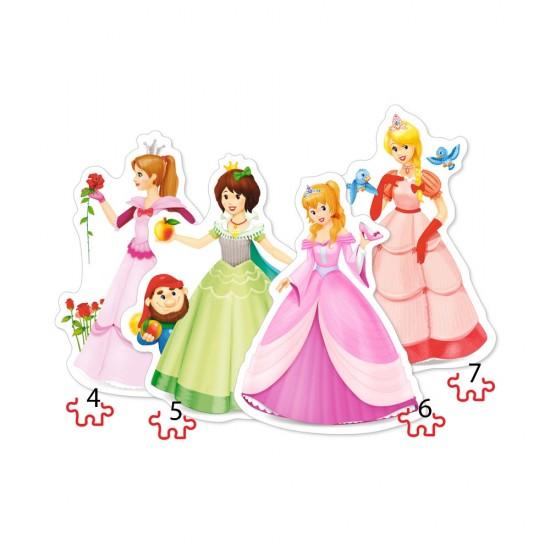 Puzzle évolutif 4 à 7 pièces : Jolies Princesses - Castorland-04409