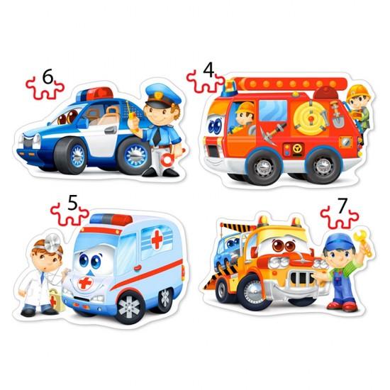 Puzzle évolutif 4 à 7 pièces : Services de sauvetage - Castorland-04393
