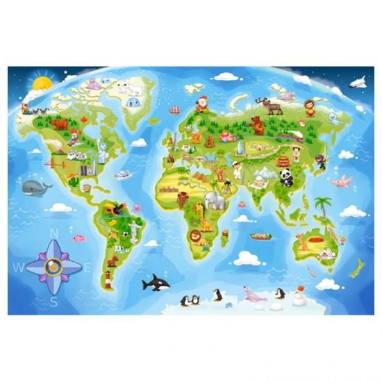 Puzzle Maxi 40 pièces : Carte du monde - Castorland-040117