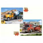 Puzzles 70 et 120 pièces : Camion toupie et camion de pompiers