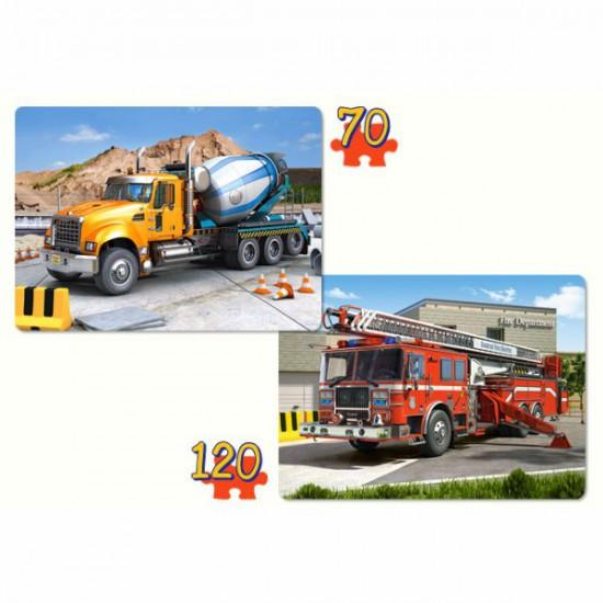 Puzzles 70 et 120 pièces : Camion toupie et camion de pompiers - Castorland-021055-1