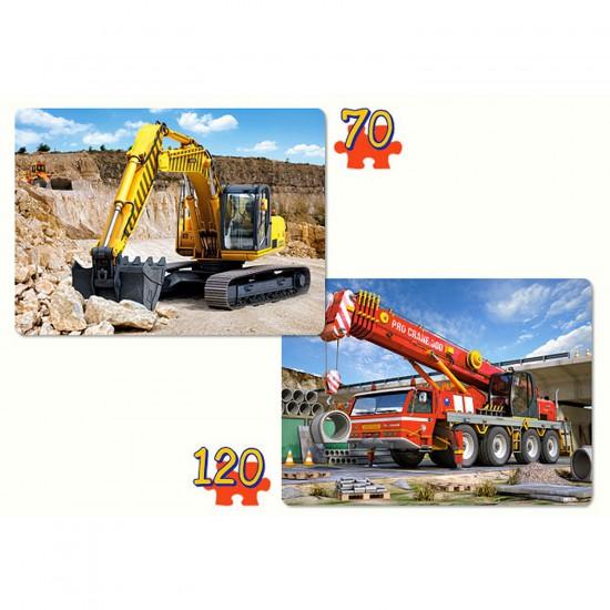 Puzzles 70 et 120 pièces : Engins de chantier - Castorland-021048-1