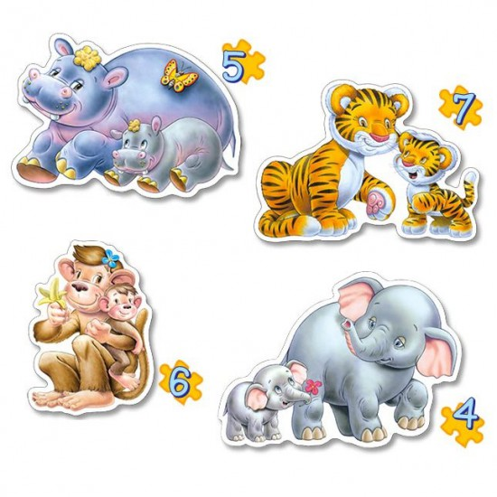 Puzzles de 4 à 7 pièces : 4 puzzles : Les animaux de la jungle et leurs petits - Castorland-04249