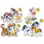 Puzzles de 4 à 7 pièces : 4 puzzles : Les animaux et leurs petits
