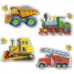 Puzzles de 4 à 7 pièces : 4 puzzles : Les véhicules