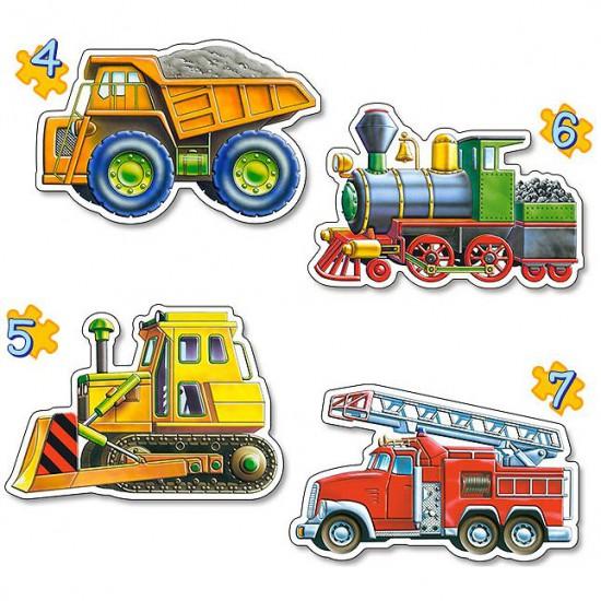 Puzzles de 4 à 7 pièces : 4 puzzles : Les véhicules - Castorland-04256