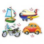 Puzzles de 4 à 7 pièces : 4 puzzles : Véhicules de transport
