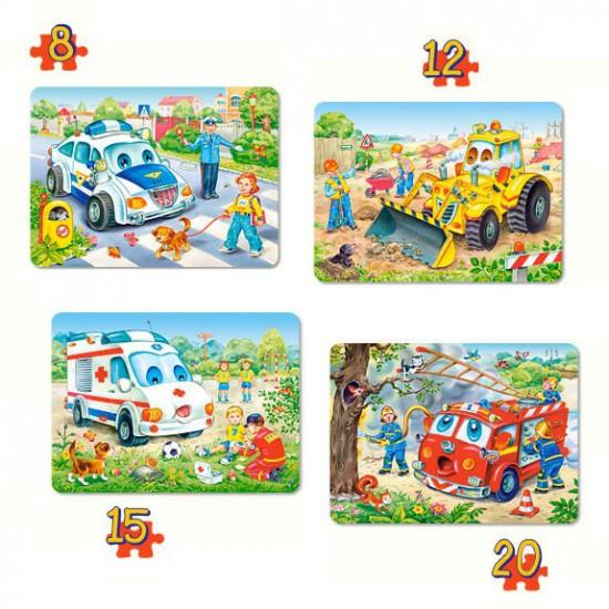 Puzzles de 8 à 20 pièces : 4 puzzles : Drôles de véhicules - Castorland-04324