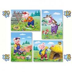Puzzles de 8 à 20 pièces : 4 puzzles : Les trois petits cochons