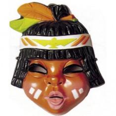 Masque Petit indien : Indien plumes marron/verte