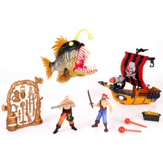 Set Pirates : Bateau de pirates figurines et gros poisson