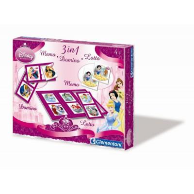 Coffret jeux 3 en 1 : Princesses Disney : Memo, Domino, Loto - Clementoni-12591