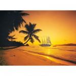 Puzzle 1000 pièces : Coucher de soleil au Seychelles