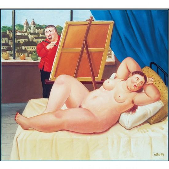 Puzzle 1000 pièces : Fernando Botero : Autoportrait avec modèle - Clementoni-39309